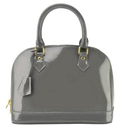 A-Bb8 Paint Leather Ms. Shell Bag Shoulder Messenger Bag Designer Inspired (Grey)