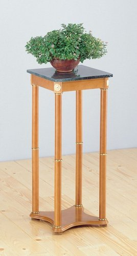 Cheap Oak Finish Wood Plant Stand in Green Marble Side/End Table Top (COAS5336)