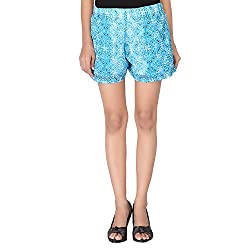 Dream Fashion Chiffon Sky Blue Flora Printed Shorts With lining For women's