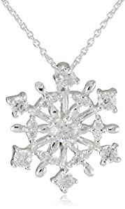 Silver Plated Cubic Zirconia Starburst Snowflake Pendant Necklace, 18""