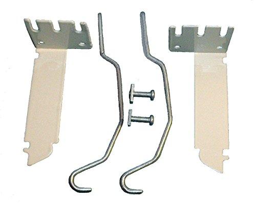 VALANCE CURTAIN ROD EXTENDER KIT ~ 1 Pair BRACKETS with 2 Wire CENTER SUPPORTS (Rod Extender Brackets compare prices)