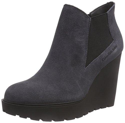 Calvin Klein JeansSYDNEY SUEDE - Stivaletti a gamba corta mod. Chelsea, imbottitura leggera Donna , Grigio (Grau (EBONY)), 37 EU
