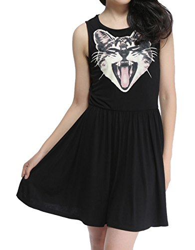 ELLAZHU Women Yawn Cat Printing Sleeveless Long Top Dress Shirt NL60 L