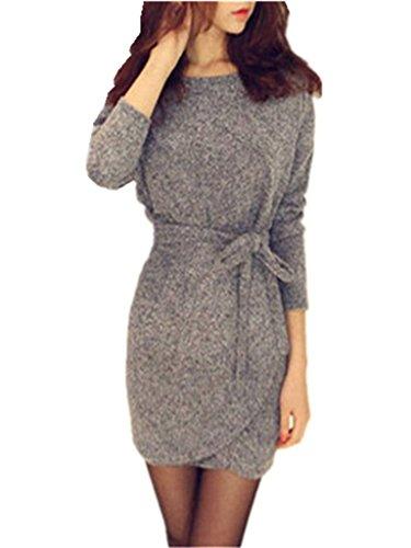 Minetom Damen Herbst Winter Strick Pullover Sweater Party Tunika Longshirt Mini Kleid Cardigan Grau Strickkleid