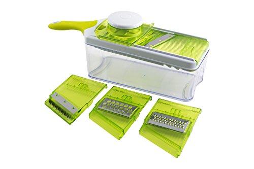 Mandoline Slicer Set, Cuts Fruits & Vegetables, Straight & Julienne, Grates Cheese, with 4 Adjustable Blades, Safety Holder , By Jobox (Mandolin Slicer Set compare prices)