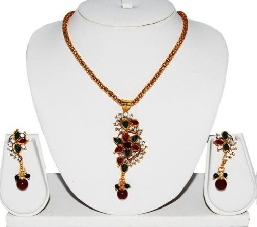 Pragati Polki Imitation Jewelry Maroon Green