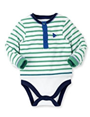 Pure Cotton Striped Mock Layered Bodysuit