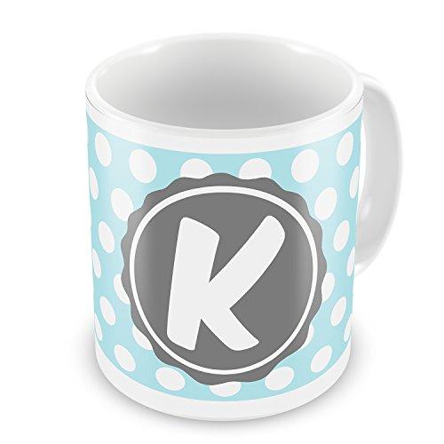Coffee Mug Monogram K Soft Blue Polka Dots - Neonblond