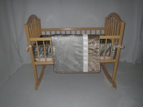 Baby Doll Crocodile Cradle Bedding Set, Silver/Grey