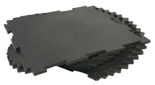 Rubber-Cal Puzzle-Lock Interlocking Basement Flooring - 3/8x20x20inch, 25Pack, 68 Sqr/Ft - Black Mats