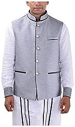 MD Fashion Men's Rayon Ethnic Jacket (JACKET-128_42, Silver, 42)