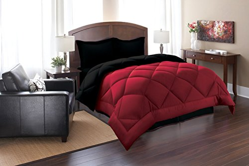 Elegant Comfort ® Goose Down Alternative Reversible 3Pc Comforter Set- Available In A Few Sizes And Colors , King/Cal King, Black/Burgundy
