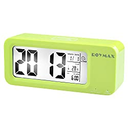 ROYMAX Morning Clock, Built-in Battery Operated Clock with Large Back-lit Numbers, Lasting FOR 3 MONTHS on a Single 12 Hours Charge, USB Cable Included, 5 Day and 7 Day Alarm Setting (Green)