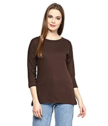 Hypernation Brown Color Round Neck Cotton T-shirt For Women
