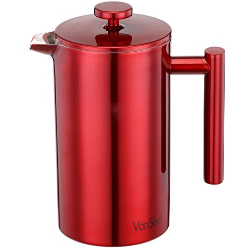 VonShef Red Double Wall Keep Warm Satin Polished Stainless Steel French Press Cafetiere Coffee Filter includes Measuring Spoon with Bag Sealing Clip - 8 Cup (Satin Polished Stainless Steel compare prices)
