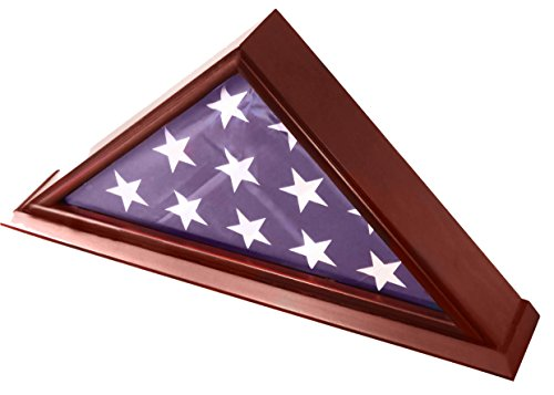 DECOMIL - 5x9 Burial/Funeral/Veteran Flag Elegant Display Case with Base, Solid Wood, Cherry Finish (Flag Display Case Air Force compare prices)