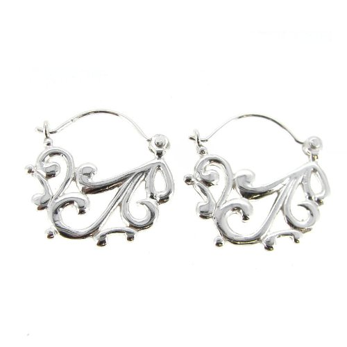 Queenberry Sterling Silver Filigree Flower Chandelier Hoop Earrings