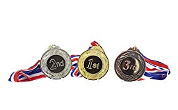 Award Medals - Olympic Style Winner Medals Gold Silver Bronze with Ribbon- 6 Piece Set - 2.6\