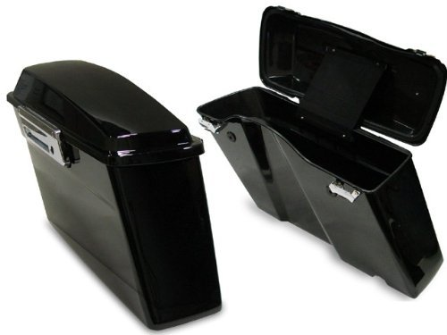 TMS Black Hard Saddlebags Trunk W/lid & Latch Cover Kit for Harley Touring FLT FLH (Harley Lid Cover compare prices)