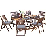 Outdoor Interiors S10666G 7-Piece Oval Fold and Store Table Set with Cushions and Cover