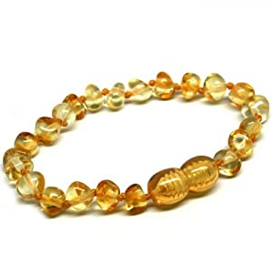 Bouncy Baby Boutique(TM) Baltic Amber Teething Anklet/Bracelet - B11 Baroque Lemon