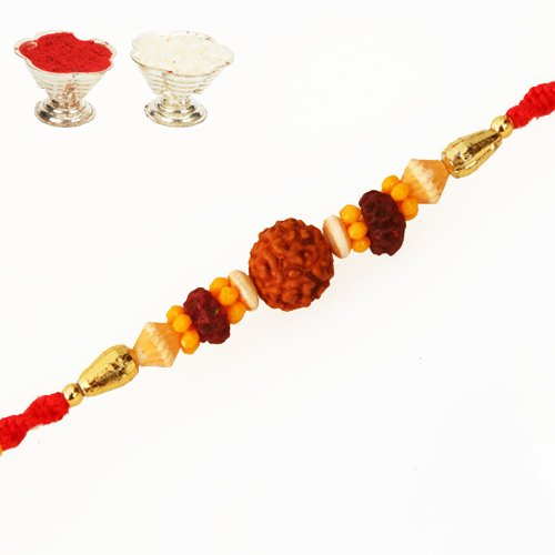 R-3 Rudaraksh Rakhi (Multi Colour,Rectangular) (multicolor)