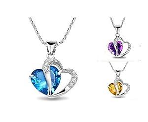 925 Sterling Silber diamant ocean blue österreichischen kristall herzform anhänger charme schmuck mit 45cm sterling silber halskette