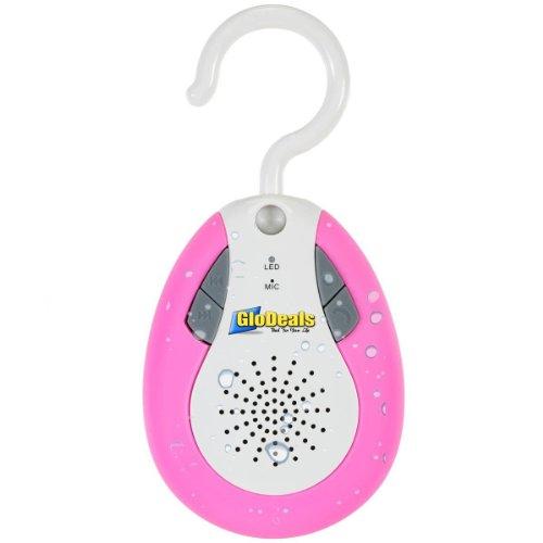 Glodeals Hybrid Waterproof Wireless Bluetooth Splash Shower Speaker With Hook Handle Auto Fm Shower Radio (Pink)