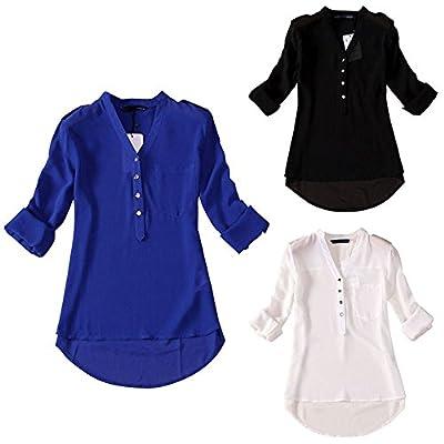 Coromose Women Spring Summer V-Neck Chiffon Long Sleeve Casual Shirt Blouse