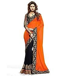 Shyam creation new Orange heavy work saree