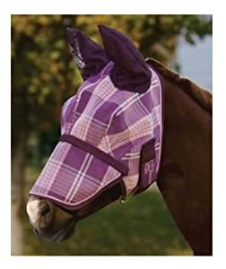 Kensington KPP Fly Mask with Nose Cover and Ears, Blue Ice Plaid, Small