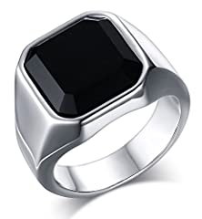 buy Mealguet Jewelry Fashion Stainless Steel Signet Ring With Black Agate For Men, Size 9