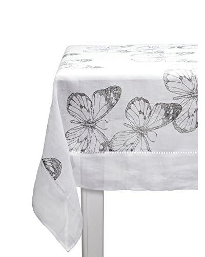 Lene Bjerre Affair Butterfly 63″ x 87″ Tablecloth, White/Medium Blue