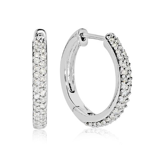 10k White Gold 1/2-ct. T.W. Diamond Hoop Earrings