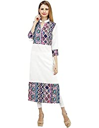Queens Women's 3/4 Sleeve Semi Printed Crepe White Kurta