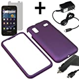 AM Hard Shield Shell Cover Snap On Case for AT&T Samsung Captivate Glide i927 + LCD + Car Home Charger-Purple
