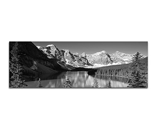 Toile Photo comme Panorama Noir/Blanc 120x 40cm parc national Montagnes Forêt lac arbres Neige