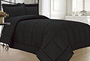 KingLinen® Black Down Alternative Comforter Set Full/Queen
