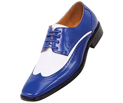 amali mens two tone royal blue and white wingtip oxford