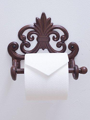 Fleur De Lis Cast Iron Toilet Paper Roll holder   Cast Iron Wall Mounted Toilet Tissue Holder   European Vintage Design   7.9x4.3x6.3
