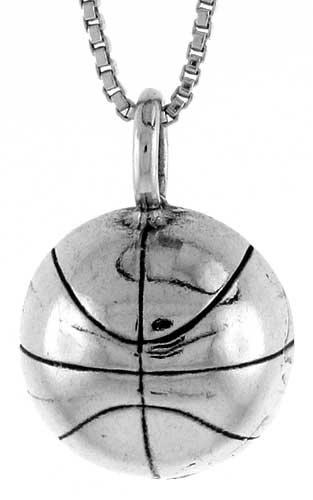 Sterling Silver Basketball Pendant, 13/16 in. (21 mm) Long.