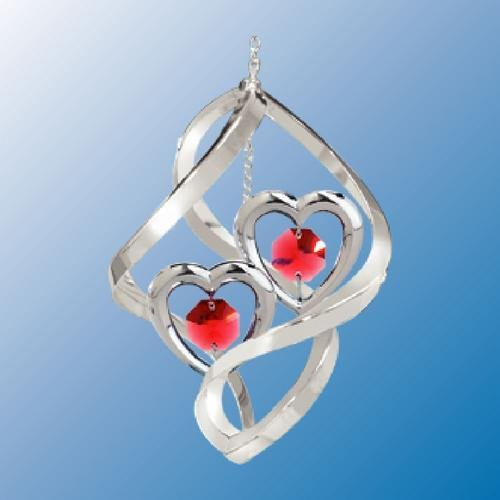 Chrome Plated Twin Hearts In Spiral... Hanging Sun Catcher Or Ornament..... With Red Color Swarovski Austrian Crystal front-307249