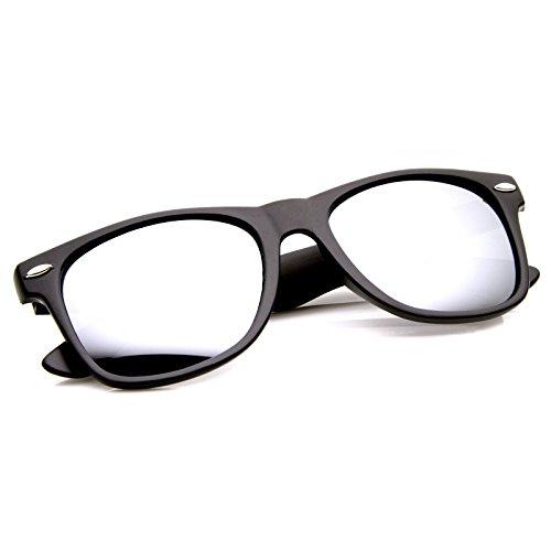 MLC EYEWEAR ® Matte Wayfarers Style Reflective Revo Lens Sunglasses - Magic Mirror oumily fashion yellow plated revo resin lens reflective sunglasses light green black