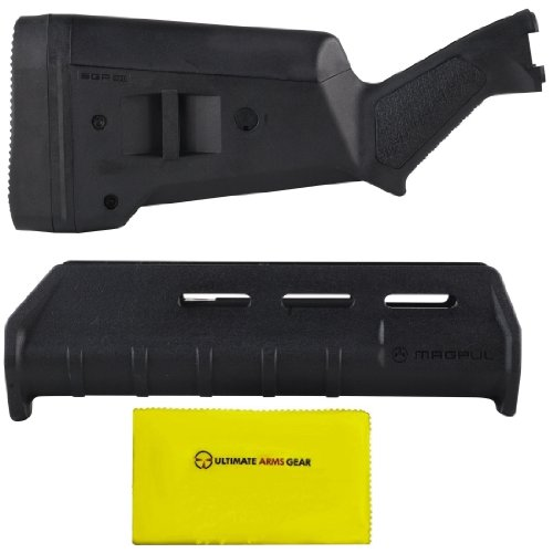 """Magpul Industries Mag 460 Sga Stealth Black Remington 870 12 Gauge Shotgun Buttstock Kit W/ Rubber Recoil Butt Pad + Mag 462 Moe Polymer Texture Forend + Ultimate Arms Gear Gun Care And Reel Silicone Lubricated Cleaning Cloth 12"""" X 14"""""""