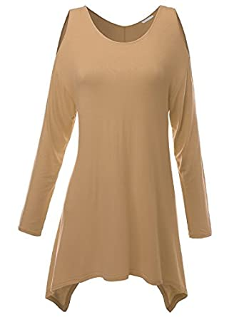 Doublju Womens Long Sleeve Loose Fit Knit Cut Out Shoulder Jersey Tunic Beige S