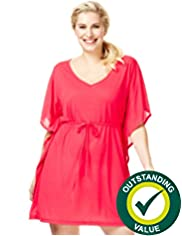 Plus V-Neck Cover-Up Kaftan with Belt