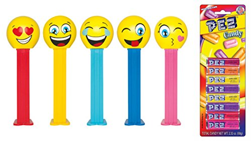 Pez Emojis Dispenser and Candy Refill Bundle (5 Dispensers and 8 PEZ CandyRefills) (Kiss Pez Dispensers compare prices)
