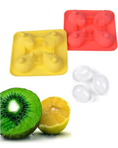 Jade Onlines 4-Cavity Adorable Hens Laying Eggs Shaped Ice/Cake/Chocolate/Sugar Decorating Silicone Mini Cube Craft Fondant Mold Tray(Send By Random Colour)