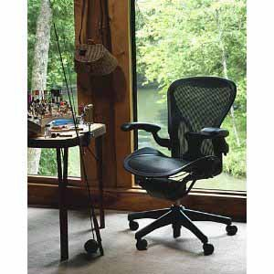 Aeron Chair Herman Miller Highly Adjustable with PostureFit Lumbar Support  Leather Arm Rest Pads Medium Size