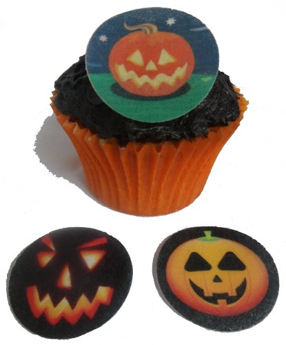 Halloween Pumpkin Designs 1.5 Inch Edible PRE-CUT Rice Paper Cup Cake Decoration Toppers x12